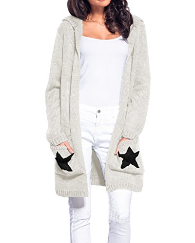 Sweater Knit Cardigan Long (Tutorutor Women Open Front Chunky Stars Casual Hooded Knit Long Cardigan Sweaters with Pockets)