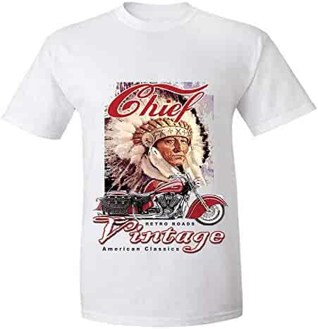 13b71d3f Trikahan Men's America Classical Chief Vintage Indian Motorcycle T-Shirt