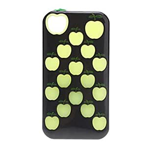 ZCL sold out Apple Pattern Hybrid Case with Glow in the Dark Inner Silicone Soft Case for iPhone 4/4S (Assorted Colors) , Black