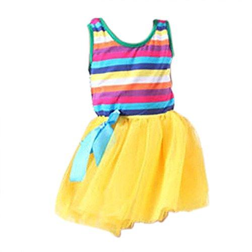 Weixinbuy Kids Girl Cotton Blend Puffy Bow Sundress Stripe Skirt Yellow 4-5Y - Puffy Yellow Dress