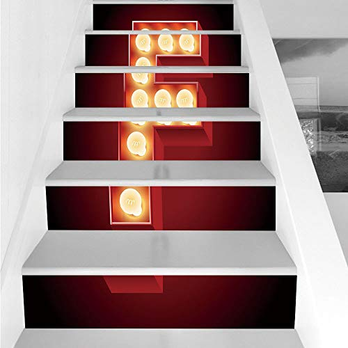 Stair Stickers Wall Stickers,6 PCS Self-adhesive,Letter F,Capital F Typescript Nightlife Disco Clubs Casino Movie Theater Font Print Decorative,Ruby Yellow Black,Stair Riser Decal for Living Room, (Hal Computer Movie)