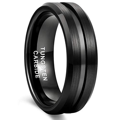8mm Black Tungsten Wedding Band Ring for Men Grooved Center Brush Finish Comfort Fit Size 7 (Tungsten Ring Wedding)