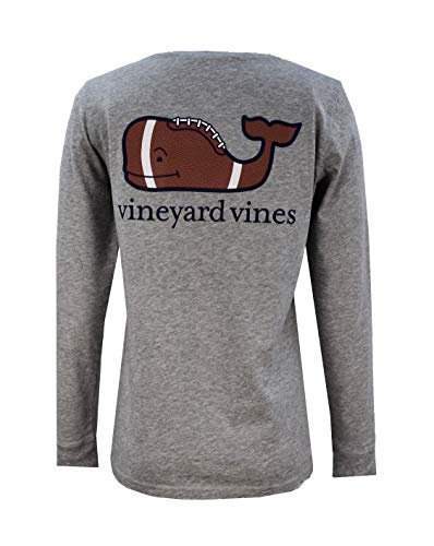 Vineyard Vines Women's Long Sleeve Pocket Signature Graphic T-Shirt. (Football Whale/Gray Heather, Large) (Best Football T Shirts)