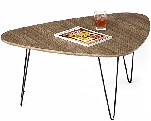 Mango Steam Saratoga Coffee Table - Mocha Brown - Wood Textured Top and Durable Steel Legs - Beveled wood textured top Slender metal legs Minimalist design - living-room-furniture, living-room, coffee-tables - 410smR9BoXL -