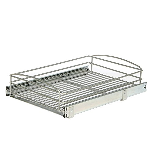 Knape & Vogt MUB-14-R-FN Frosted Nickel Multi-Use Basket Cabinet Organizer, 5.32 by 14.75 by 20-Inch