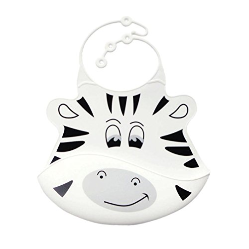 Baby Girls Boys Bibs, VEKDONE Cute Kid Infant Bibs Baby Soft Silicone Bib Waterproof Saliva Dripping Bibs (White)