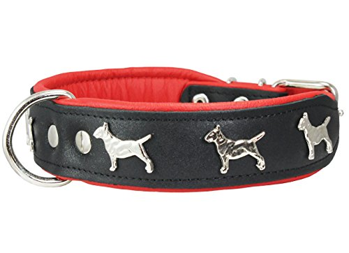 Bull Terrier Collars - Real Leather Soft Leather Padded Dog Collar Bull Terrier 1.75