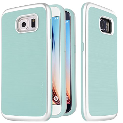 Galaxy S6 Case  Motomo Ino Line Infinity Curved Metal Bumper Tpu Case For Samsung Galaxy S6  Aqua Mint Silver