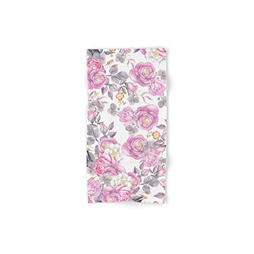 Society6 Elegant Pink Gray Watercolor Botanical Roses Flowers Hand Towel 30