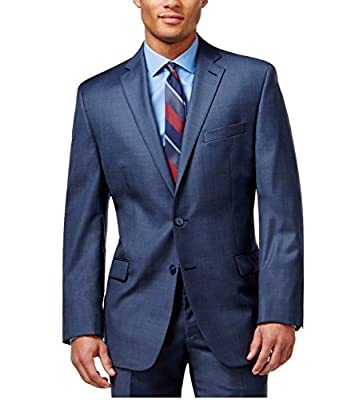 Calvin Klein Slim Fit Blue Textured Wool 2 Button Flat Front New Men's Suit Set (46R 38W x 32L)