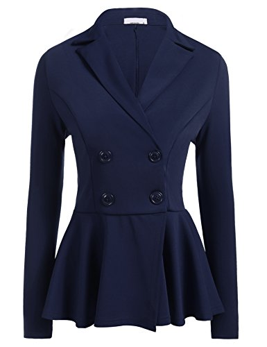 Sexy Cropped Jacket Blazer - ELESOL Ladies Petite Burgundy Blazer Sexy Frill Shift Fit Peplum Jacket Work Coat Blue/L