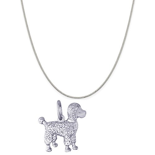 Rembrandt Charms Sterling Silver Poodle Charm on a Sterling Silver Box Chain Necklace, 18