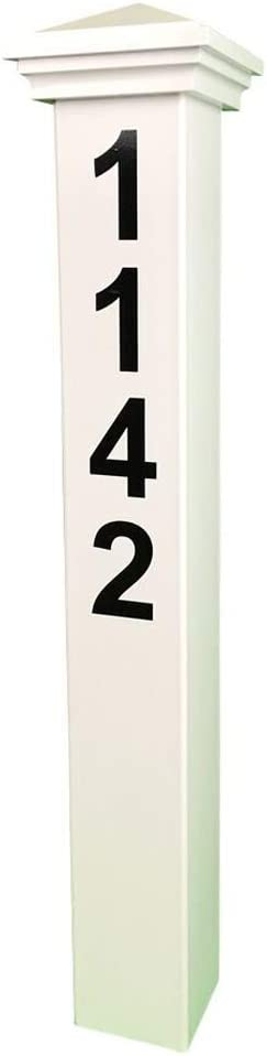 """ADDRESSES OF DISTINCTION White Address Post – 32"""" Tall Address Marker - Customized Black House Numbers –All Hardware & Stake Included – Help Emergency Vehicles Find Your Home (Nantucket Cap)"""