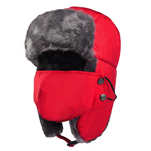 Vbiger Trapper Hat with Ear Flaps Nylon Windproof Winter Warm Hunting Hats for Men & Women (Red)
