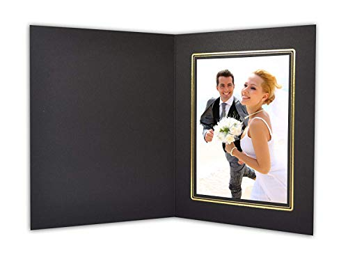 (Golden State Art, Cardboard Photo Folder For a 5x7 Photo (Pack of 50) GS001 Black Color with Gold Lining)