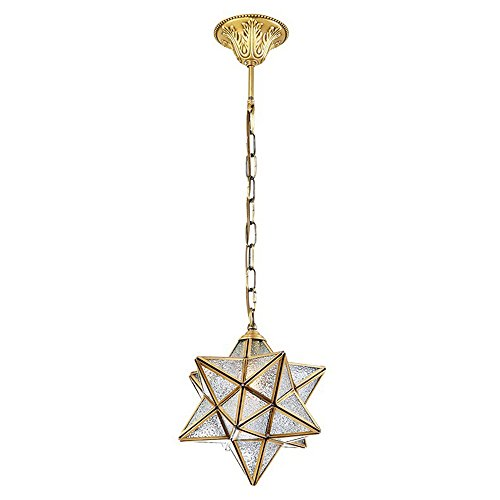 Ting-W Vintage E27 luxorious Crystal 1 light Star pendant Cooper Matel Ceiling lamp