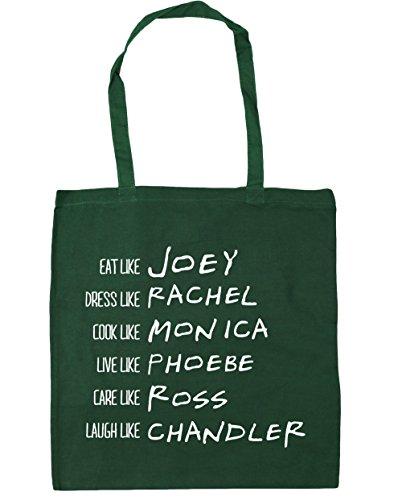 HippoWarehouse ser como Phoebe Rachel Monica Joey Chandler Ross Tote Compras Bolsa de playa 42cm x38cm, 10litros verde oscuro