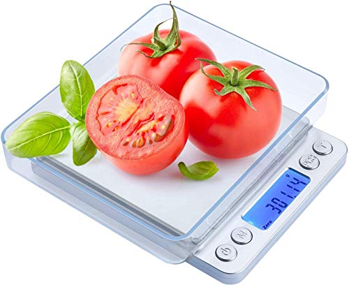 Digital Kitchen Scale, 500g/0.01g Cooking Food Scale Coffee Scale with LCD Display, 2 Trays, 0.1g/oz/ct/DWT/ozt/gn, Auto…