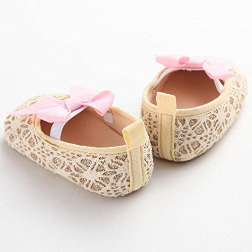 Tefamore Zapatos Bebé Recién Nacido De Corbata De Moño Zapatillas Antideslizantes Suaves Niño Cuna Oro