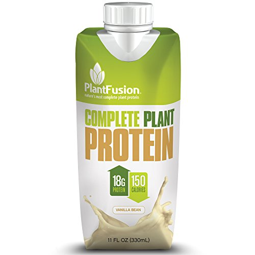 PlantFusion Complete Ready-to-Drink Protein Shake, Vanilla Bean, No Soy or Rice, 18g Protein, 11oz Carton, 12 Count