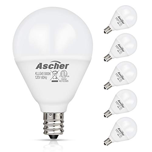 - Ascher E12 LED Candelabra Light Bulbs 60 Watt Equivalent, Candelabra Base Round Bulb, 550 Lumens, Daylight White 5000K, G14 Decorative Bulb for Ceiling Fan, Non-dimmable, Pack of 5