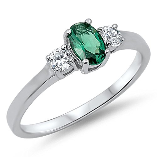 Women's Simulated Emerald Classic Pretty Ring New .925 Sterling Silver Band Size 11 -
