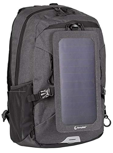 SunnyBAG Solar Panel Backpack| Laptop Carrier with Solar Charger| 6 watts USB Charger Backpack| Power-Back Pack for Mobile Phones and Laptop| for Men and Women| Black/Black by Sunny Bag