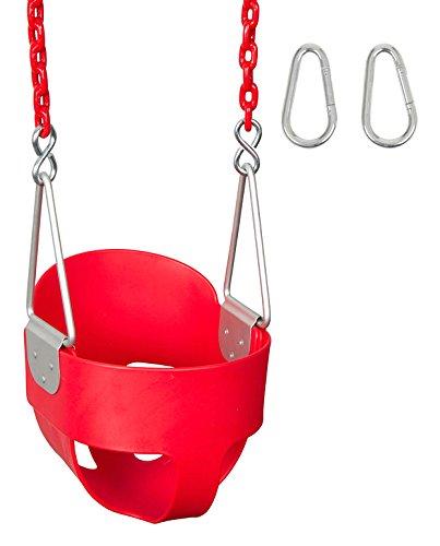 Swing Set Stuff Highback Full Bucket with 5.5' Coated Chain & SSS Logo Sticker, Red Swing Set Stuff - DROPSHIP SSS-0051-R