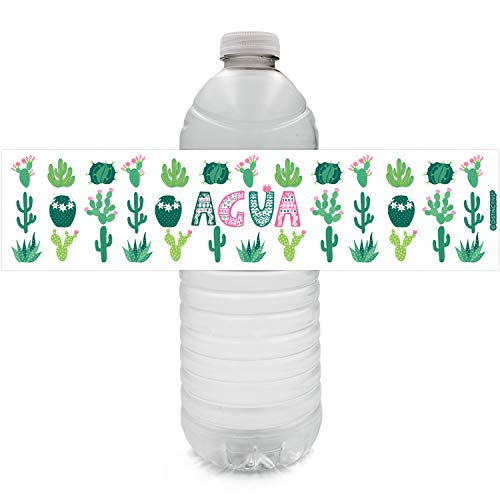 Cactus Party Water Bottle Labels | Agua | 24 ()