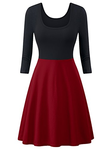 Skater Dress, Casual 3/4 Sleeves Flared A-Line Midi Dresses for Women (Claret, L)