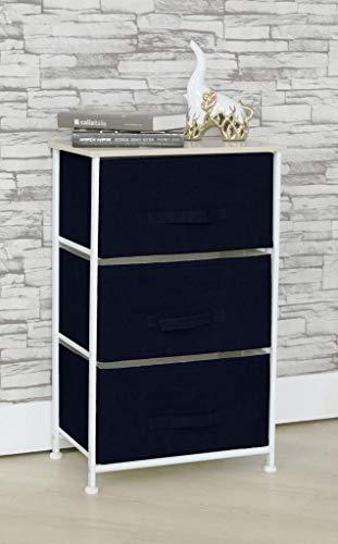 Mk Home 3 Drawer Organizer Storage Navy Blue Night Stand or Dresser for Bedroom, Bathroom, Nursery Room, Living Room, Hallway, Playroom and Closet New (Blue Dresser Bedroom Navy Furniture)
