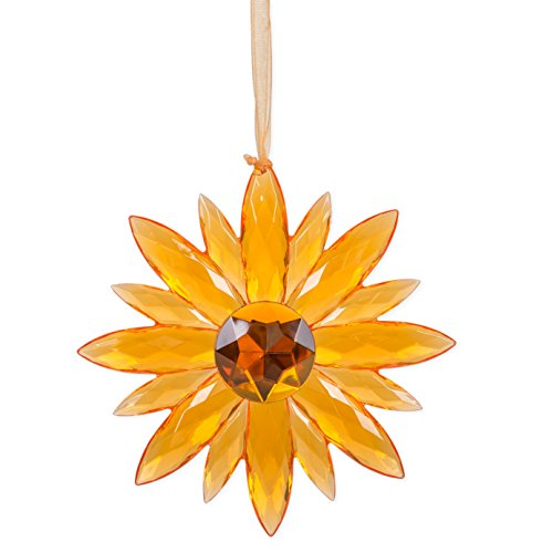 Flower Small Crystal Expressions 7 Inch Acrylic Hanging Jewel - Jewel Orange