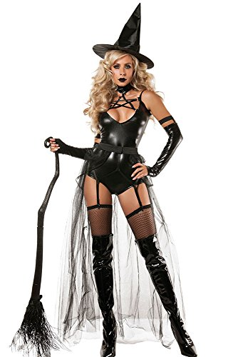 JINSEY Black Women's 4pcs Sexy Cool Miss Witch Costume /Halloween (Cool Costumes For Women)