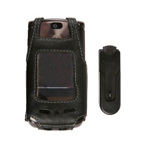 Clip Wireless Solutions Leather (Wireless Solutions New Swivel Clip Leather Case for Motorola RAZR2 V9 V9M)