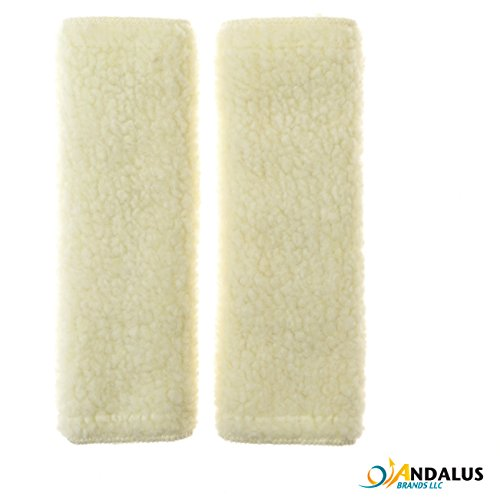 ANDALUS Beige Reversible Soft Seat Belt Shoulder Pads, Comfortable Driving, Machine Washable, Synthetic Wool (2 Pack) (Pads Harness Shoulder)