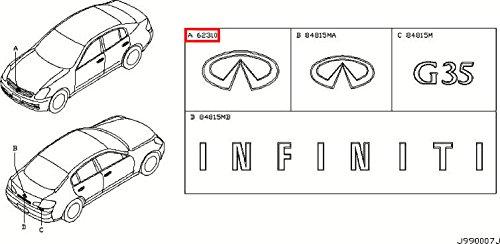 (Infiniti Nissan Genuine Factory Original OEM G35 SEDAN 4DR FRONT GRILLE EMBLEM CHROME V35)