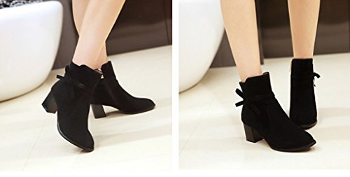 Autumn and Winter Thick High-Heeled Low Boots Black Aull9GGs