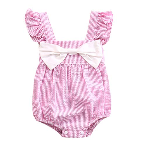 Newborn Baby Girl Striped Bubble Romper Jumpsuit Outfits Infant Ruffle Sleeveless Bodysuit Summer Clothes Pink for 0-6 - Infant Bubble