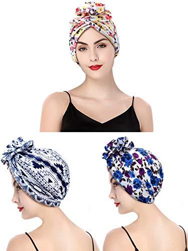 3 Pieces Women Cotton Sleep Cap Turban Night Cap Flower Pattern Head Wrap Turban Cap for Women Girls (Color2)