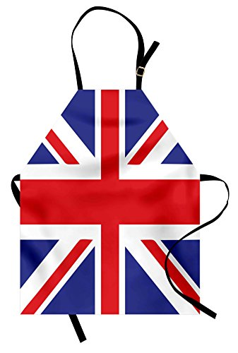 Apron, Classic Traditional Flag United Kingdom Modern British Loyalty Symbol, Unisex Kitchen Bib Apron with Adjustable Neck for Cooking Baking Gardening, Royal Blue Red White ()