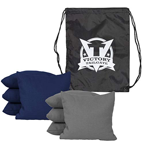Victory Tailgate 8 Colored All Weather Regulation Cornhole Bags with Drawstring Pack (4 Gray, 4 Navy Blue)