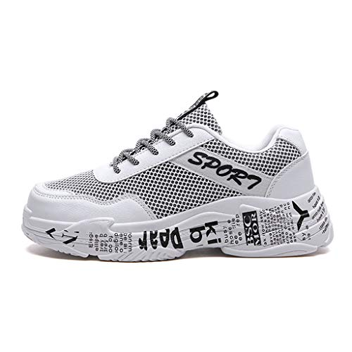 iHPH7 Shoes Running Shoe Couple Woven Non-Slip Sneakers Trend Mesh Breathable Lazy Casual Running Shoes (36,White)]()