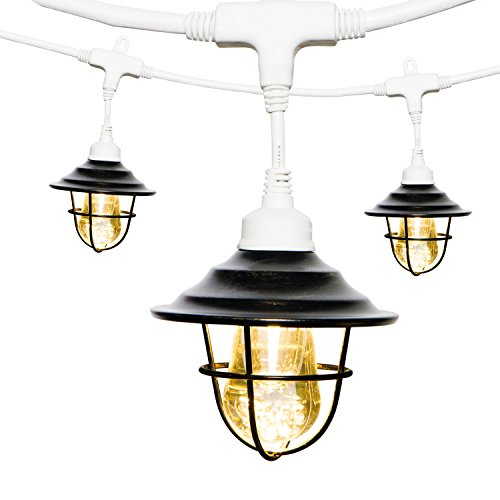 Enbrighten 43381 Vintage LED Café String Lights with Oil-Rubbed Bronze Lens Shade, White, 24ft, 12 Lifetime Bulbs, Premium, Shatterproof, Weatherproof, Indoor/Outdoor by Enbrighten