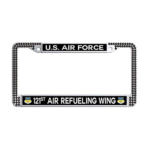 US Air Force 121st Air Refueling Wing License Plate Frame,Black Rhinestones License Cover Holder ()
