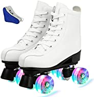 Beginners Roller Skates Unisex Classic High-top Roller Skates Double Row Four Shiny Wheels for Womens Mens Boy