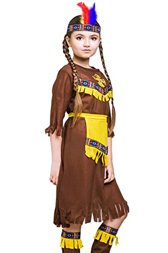 Kids Native American Girl Halloween Costume Indian Princess Dress Up & Role Play (3-6 years, brown, (2)