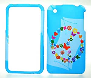 Rainbow Peace Ring on Blue Rubberized Snap on Hard Protector Case Cover for Apple Iphone 3 3g 3gs