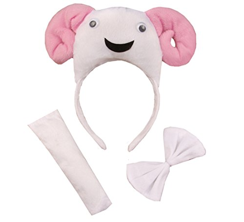 3PCS Animals 3D Cute Headband Party Costume, Ear with Tail Tie (Sheep)]()