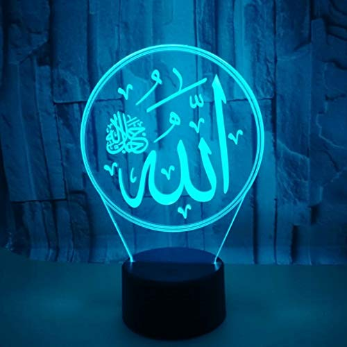 DYY Allah 3D Small Night Light USB Socket Colorful LED Acrylic Panel Remote/Touch 3D Stereo Vision Stylish Creative Child Small Table Lamp (Size : Telecontrol Touch)