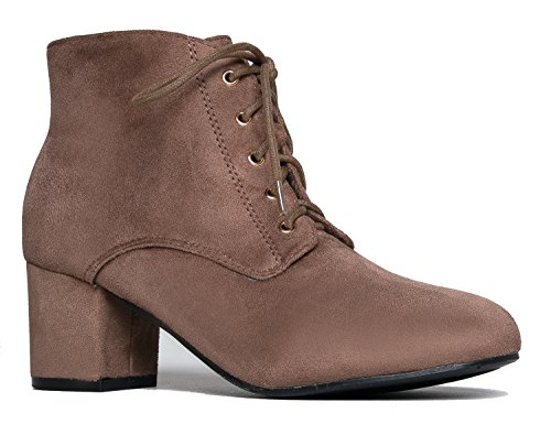J. Adams Aubrey Ankle Boot - Casual Suede Low Chunky Block Heel Lace Up Bootie